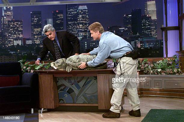 Herpetologist Brady Barr with a large turtle during an interview with host Jay Leno on November 19 1999