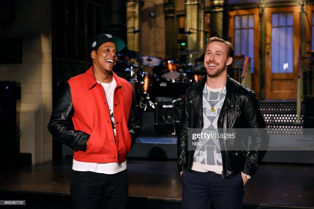 Musical Guest Jay-Z with Host Ryan Gosling in Studio 8H on Thursday, September 28, 2017 --