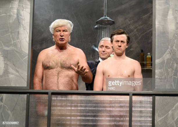 Alec Baldwin as President Donald J Trump Beck Bennett as Vice President Mike Pence Alex Moffat as Paul Manafort during Manafort's House Cold Open in...