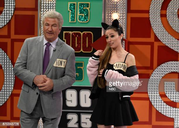 Alec Baldwin as Tony Bennett Melissa Villaseñor as Ariana Grande during 'Price Is Right Celebrity Week' in Studio 8H on Saturday November 4 2017