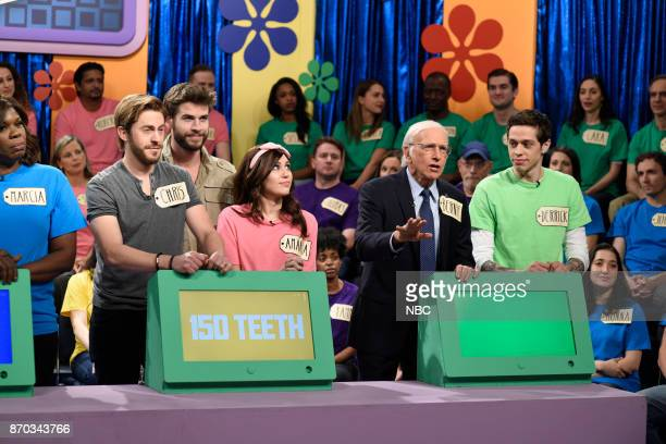 Episode 1729 -- Pictured: Alex Moffat as Chris Hemsworth, Liam Hemsworth as himself, Miley Cyrus as Amanda, Larry David as Bernie Sanders, Pete...