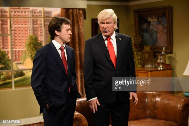 Alex Moffat as Paul Manafort Alec Baldwin as President Donald J Trump during Manafort's House Cold Open in Studio 8H on Saturday November 4 2017...