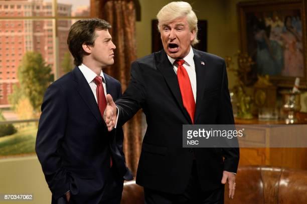 Alex Moffat as Paul Manafort Alec Baldwin as President Donald J Trump during 'Manafort's House Cold Open' in Studio 8H on Saturday November 4 2017...