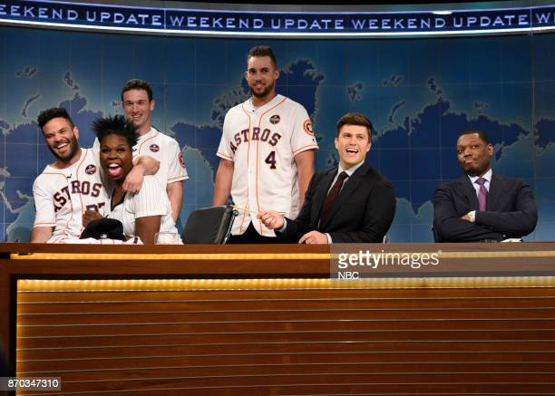 José Altuve Alex Bregman George Springer of The Houston Astros Leslie Jones Colin Jost Michael Che during 'Weekend Update' in Studio 8H on Saturday...