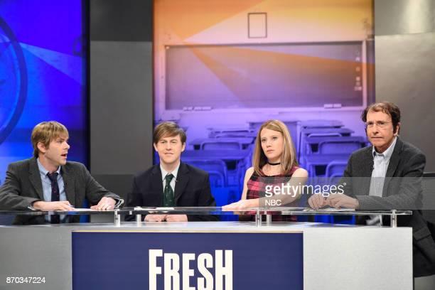Mikey Day as Dustin Purcell Alex Moffat as Scott Partek Kate McKinnon as Krissy Lake Larry David as Mr Burton during 'Fresh Takes' in Studio 8H on...