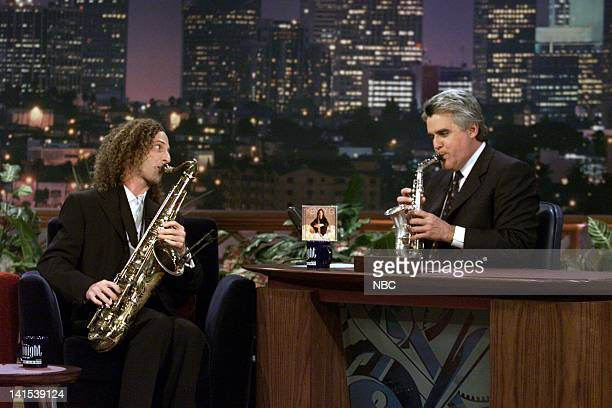 Musical guest Kenny G during an interview with host Jay Leno on November 30 1999 Photo by NBC/NBCU Photo Bank