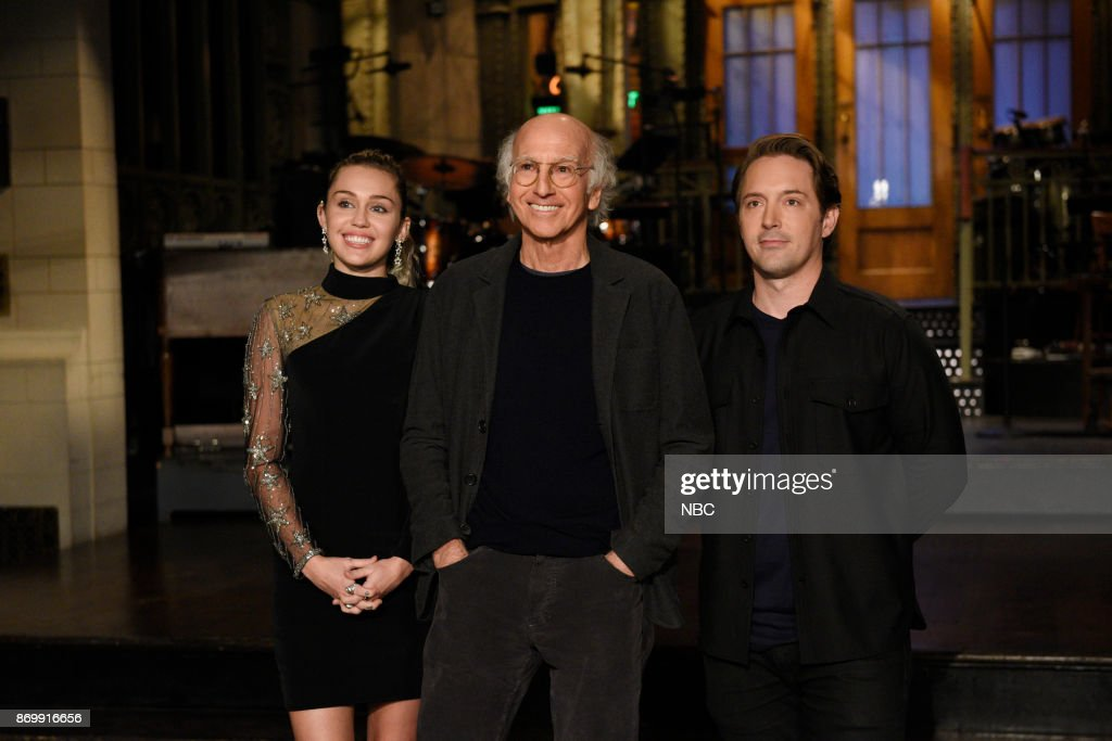 Musical Guest Miley Cyrus with Host Larry David and Beck Bennett during a promo in 30 Rockefeller Plaza --