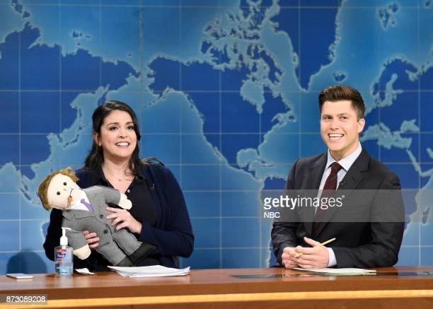 Cecily Strong as Claire from NBC Human Resources Colin Jost during' Weekend Update' in Studio 8H on Saturday November 11 2017