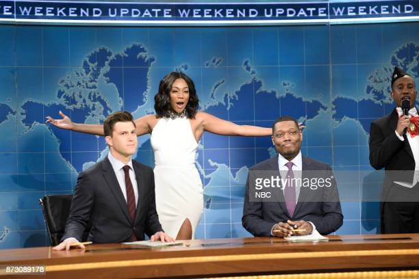 Colin Jost Tiffany Haddish Michael Che Chris Redd during Weekend Update in Studio 8H on Saturday November 11 2017