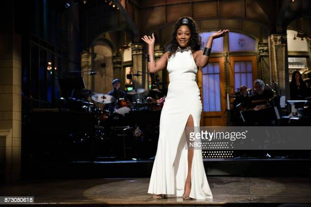 Episode 1730 -- Pictured: Host Tiffany Haddish during the Opening Monologue in Studio 8H on Saturday, November 11, 2017 --