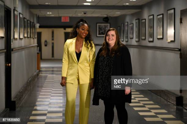 Host Tiffany Haddish with Aidy Bryant during a promo in 30 Rockefeller Plaza