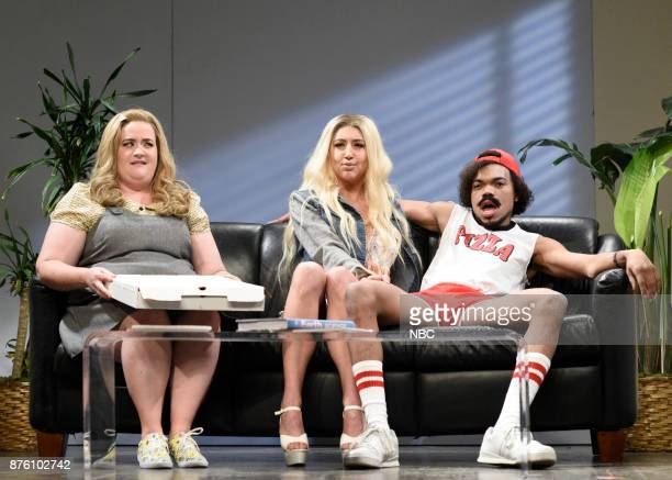 """Episode 1731 -- Pictured: Aidy Bryant, Heidi Gardner, Chance The Rapper during """"Pizza Delivery"""" in Studio 8H on Saturday, November 18, 2017 --"""