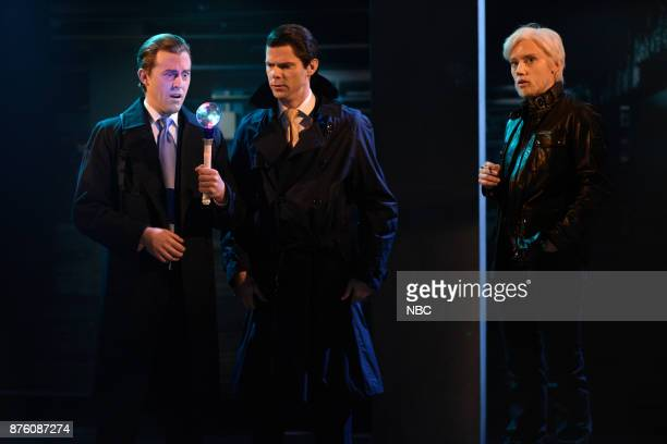 Alex Moffat as Eric Trump Mikey Day as Donald Trump Jr Kate McKinnon as Julian Assange during 'WikiLeaks Cold Open' in Studio 8H on Saturday November...