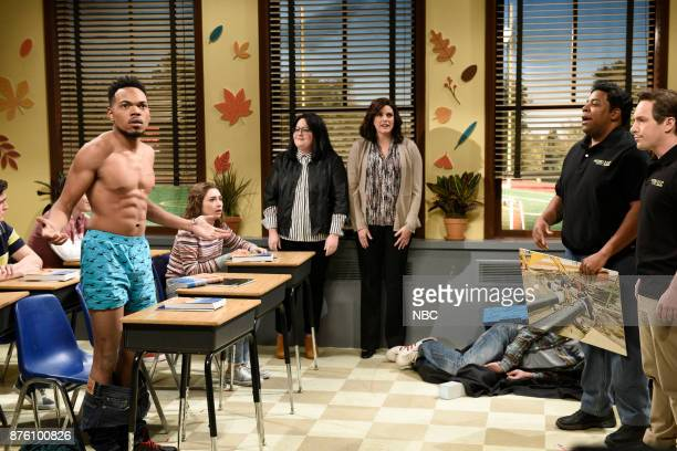 Chance The Rapper Melissa Villaseñor as students Cecily Strong Aidy Bryant Kenan Thompson Beck Bennett during 'Career Day' in Studio 8H on Saturday...
