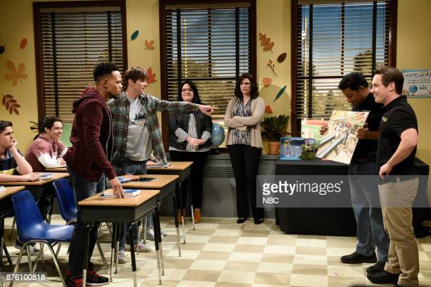 Chance The Rapper Mikey Day Melissa Villaseñor as students Cecily Strong Aidy Bryant Kenan Thompson Beck Bennett during 'Career Day' in Studio 8H on...