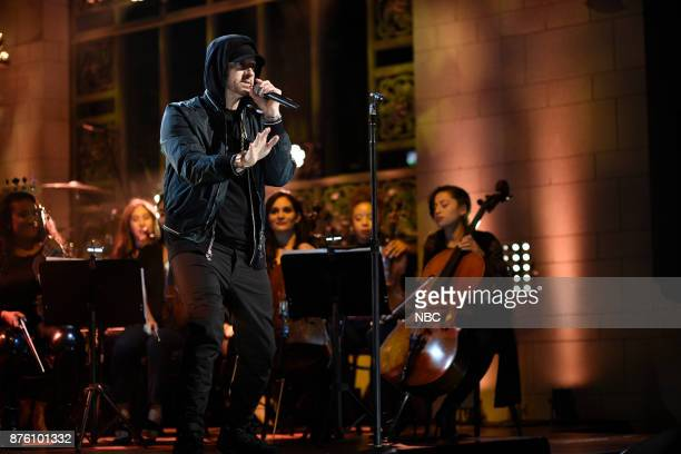 Episode 1731 -- Pictured: Eminem performs a Medley in Studio 8H on Saturday, November 18, 2017 --