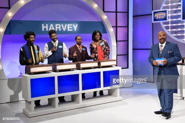 Gary Richardson as Ricky Michael Che as Andre Chris Redd as Mike Leslie Jones as Janelle Harvey Kenan Thompson as Steve Harvey during 'Family Feud...