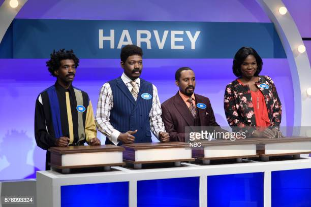 Gary Richardson as Ricky Michael Che as Andre Chris Redd as Mike Leslie Jones as Janelle Harvey during 'Family Feud Thanksgiving Edition' in Studio...