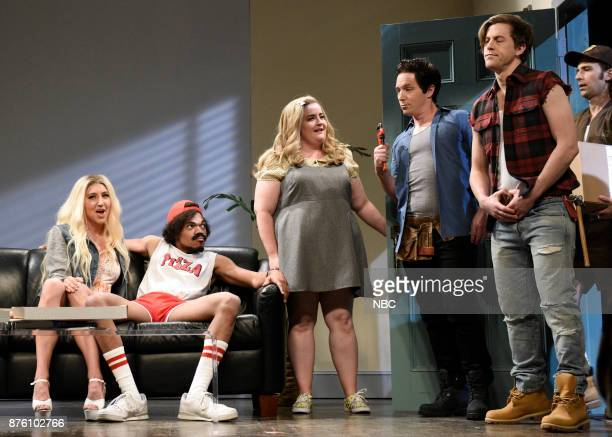Heidi Gardner Chance The Rapper Aidy Bryant Beck Bennett Alex Moffat Kyle Mooney during 'Pizza Delivery' in Studio 8H on Saturday November 18 2017