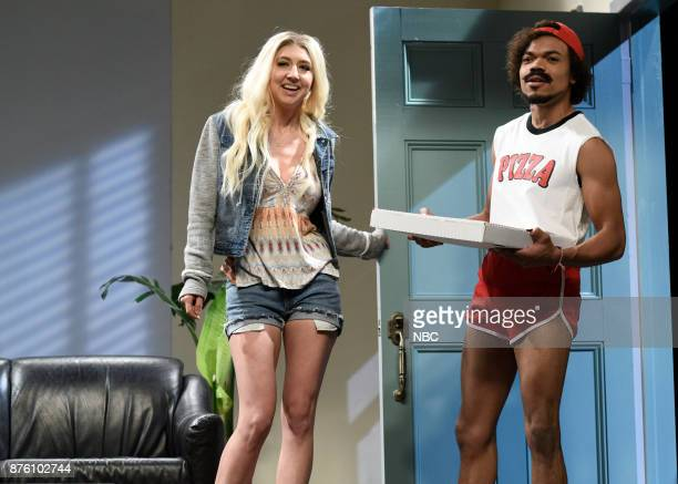 Heidi Gardner Chance The Rapper during Pizza Delivery in Studio 8H on Saturday November 18 2017