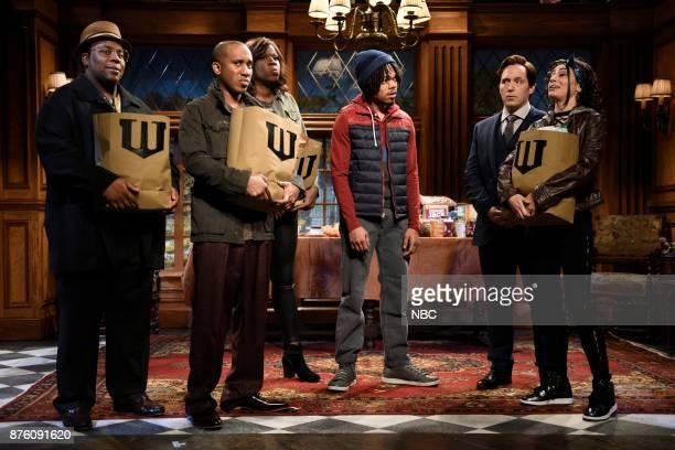Kenan Thompson Chris Redd Leslie Jones Chance The Rapper Beck Bennett as Bruce Wayne Melissa Villaseñor during 'Wayne Thanksgiving' in Studio 8H on...