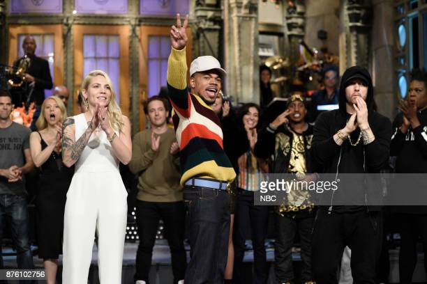 Skylar Grey Chance The Rapper Eminem during Goodnights Credits in Studio 8H on Saturday November 18 2017