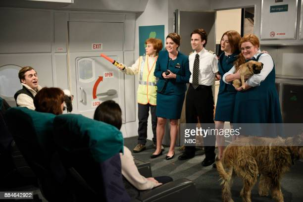 Alex Moffat Kate McKinnon Cecily Strong Kyle Mooney Saoirse Ronan Aidy Bryant during 'Aer Lingus' in Studio 8H on Saturday December 2 2017