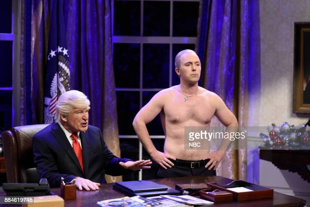 Beck Bennett as Russian President Vladimir Putin Alec Baldwin as President Donald J Trump during White House Cold Open in Studio 8H on Saturday...
