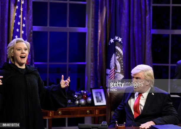 Kate McKinnon as Hillary Rodham Clinton Alec Baldwin as President Donald J Trump during White House Cold Open in Studio 8H on Saturday December 2 2017