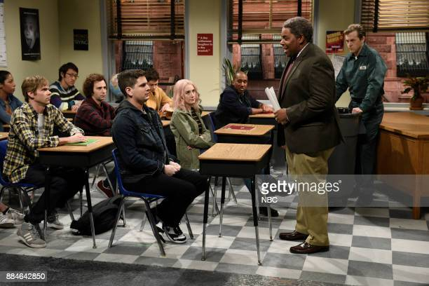 Mikey Day Kyle Mooney Luke Null Pete Davidson Saoirse Ronan Chris Redd Kenan Thompson Alex Moffat during 'Late for Class' in Studio 8H on Saturday...