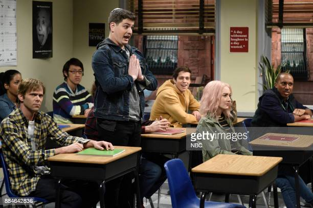Mikey Day Luke Null Pete Davidson Saoirse Ronan Chris Redd during 'Late for Class' in Studio 8H on Saturday December 2 2017