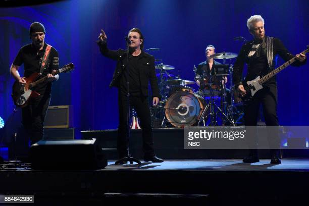 The Edge Bono Larry Mullen Jr Adam Clayton of Musical Guest U2 performs 'Get Out Of Your Own Way' in Studio 8H on Saturday December 2 2017