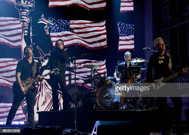 The Edge Bono Larry Mullen Jr Adam Clayton of Musical Guest U2 performs American Soul in Studio 8H on Saturday December 2 2017