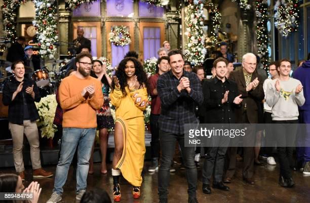 Alex Moffat Seth Rogen SZA James Franco Jonah Hill Steve Martin Dave Fanco during 'Goodnights Credits' in Studio 8H on Saturday December 9 2017