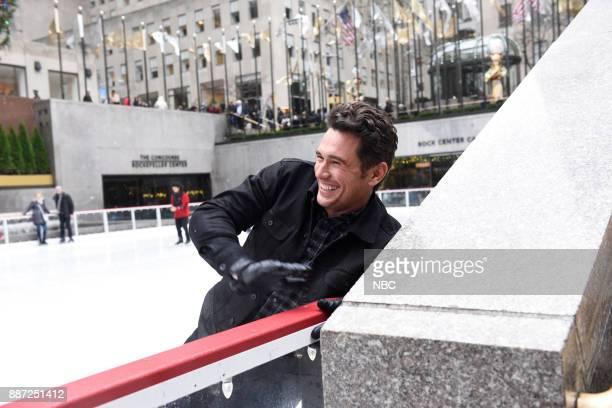 Host James Franco during a promo in 30 Rockefeller Plaza