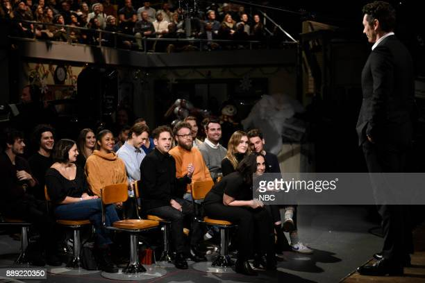 Jonah Hill Seth Rogen James Franco during 'Audience Questions Cold Open' in Studio 8H on Saturday December 9 2017