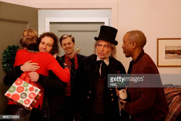 Kyle Mooney Alex Moffat Beck Bennett Chris Redd during 'Scrudge' on Saturday December 9 2017