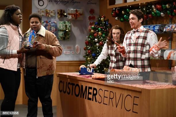 Leslie Jones Kenan Thompson Kate McKinnon James Franco during 'Gift Wrap' in Studio 8H on Saturday December 9 2017