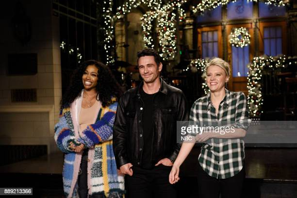 Musical Guest SZA Host James Franco and Kate McKinnon during a promo in 30 Rockefeller Plaza