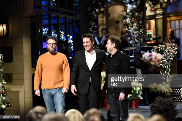 Seth Rogen James Franco Jonah Hill during 'Audience Questions Cold Open' in Studio 8H on Saturday December 9 2017