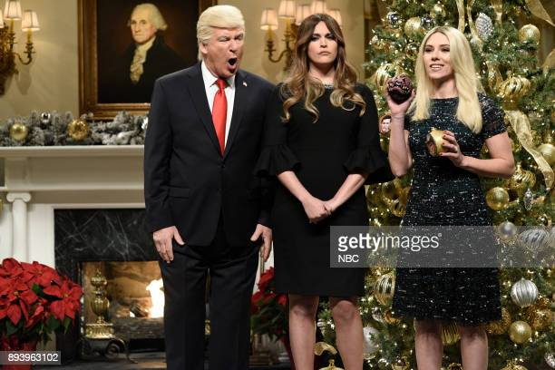 Alec Baldwin as President Donald J Trump Cecily Strong as First Lady Melania Trump Scarlett Johansson as Ivanka Trump during 'White House Tree...