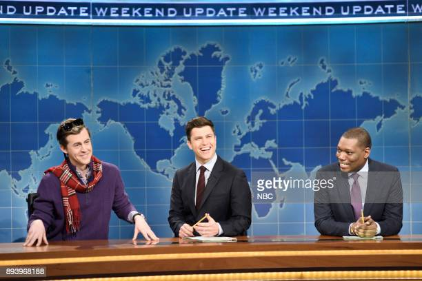 Alex Moffat as Guy Who Just Bought a Boat Colin Jost Michael Che during 'Weekend Update' in Studio 8H on Saturday December 16 2017