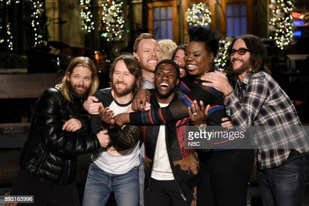 Host Kevin Hart with Musical Guest Foo Fighters and Leslie Jones during a promo in 30 Rockefeller Plaza