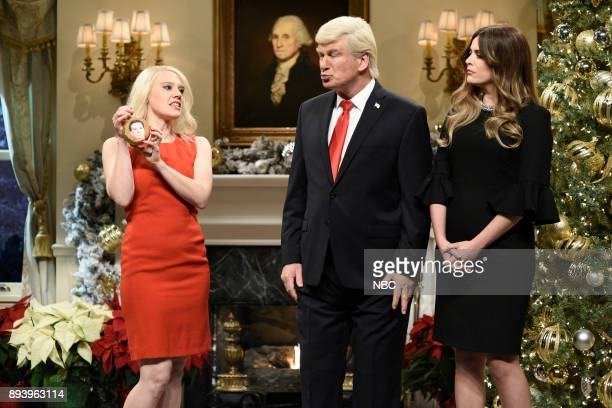 Kate McKinnon as Counselor to the President Kellyanne Conway Alec Baldwin as President Donald J Trump Cecily Strong as First Lady Melania Trump...