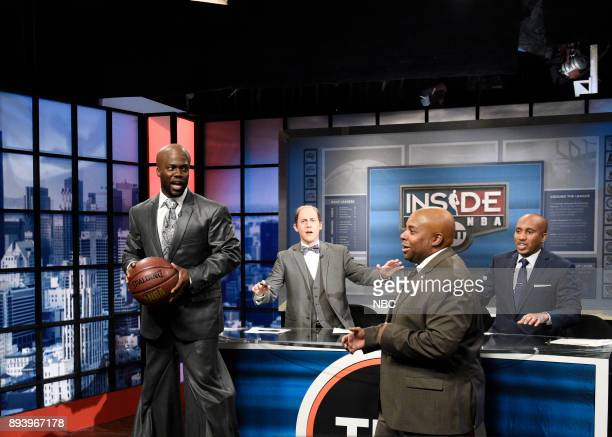 Kevin Hart as Shaquille O'Neal Alex Moffat as Ernie Johnson Chris Redd as Kenny Smith Kenan Thompson as Charles Barkley during Inside the NBA in...