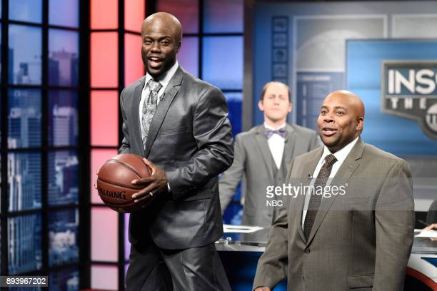 Kevin Hart as Shaquille O'Neal Kenan Thompson as Charles Barkley during Inside the NBA in Studio 8H on Saturday December 16 2017