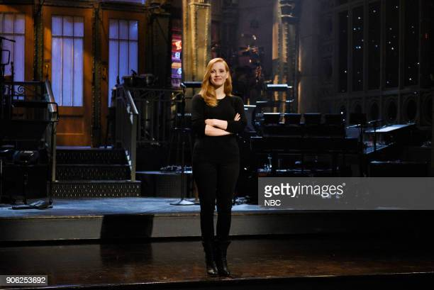 Host Jessica Chastain during a promo in 30 Rockefeller Plaza
