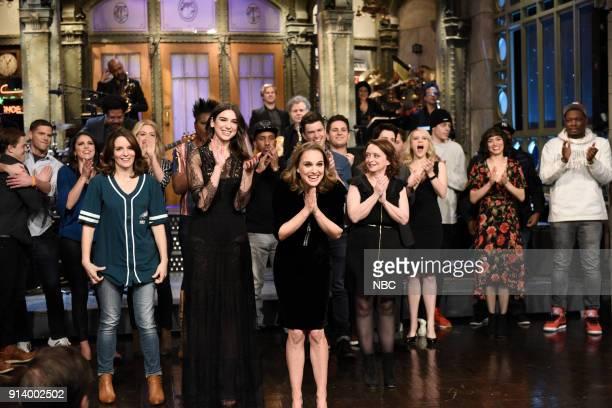 LIVE Episode 1738 'Natalie Portman' Pictured Alex Moffat Mikey Day Cecily Strong Tina Fey Dua Lipa Chris Redd Natalie Portman Colin Jost Luke Null...