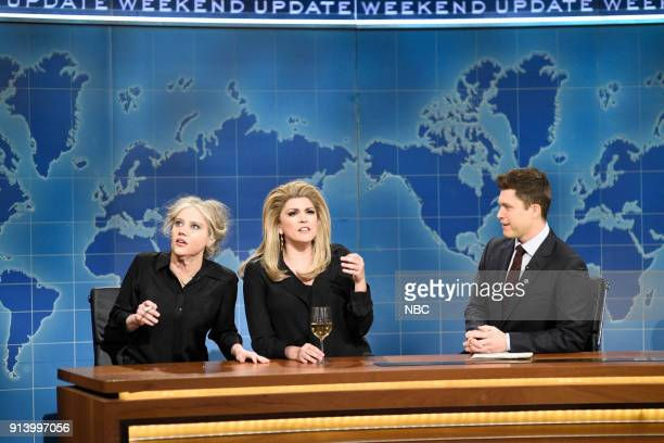 LIVE Episode 1738 'Natalie Portman' Pictured Kate McKinnon as Bridget Bardot Cecily Strong as Catherine Deneuve Colin Jost during 'Weekend Update' in...