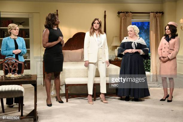 LIVE Episode 1738 Natalie Portman Pictured Kate McKinnon as Hillary Clinton Leslie Jones as Michelle Obama Cecily Strong as Melania Trump Aidy Bryant...